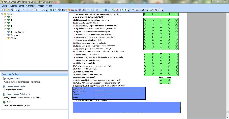 Remark Ofis OMR Ekran Görüntüsü